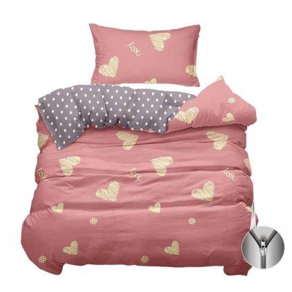 2-dílné povlečení srdce růžová 140x200 na jednu postel
