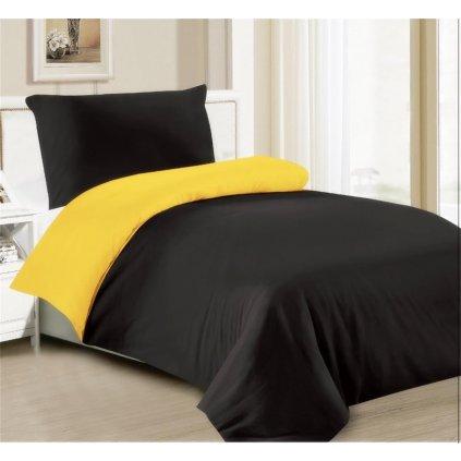 2-dílné povlečení černá žlutá 140x200 na jednu postel