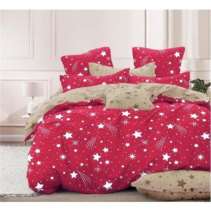 7-dílné povlečení obloha červená béžová 140x200 na dvě postele