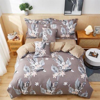 3-dílné flanelové povlečení lístečky zelená 140x200 na jednu postel