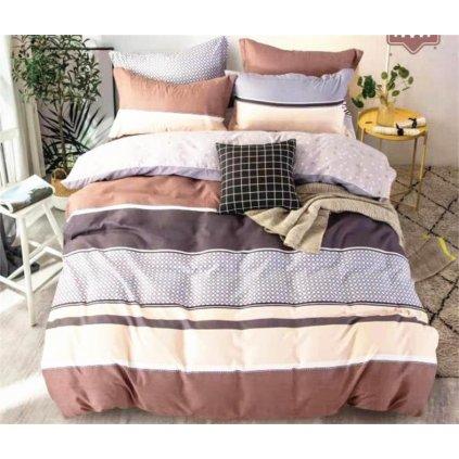 3-dílné flanelové povlečení pruhy krémová šedá 1410x200 na jednu postel