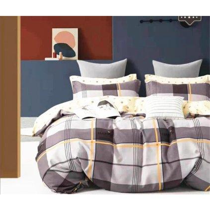 3-dílné flanelové povlečení happy kárované šedá 140x200 na dvě postele
