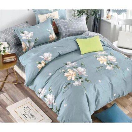 7-dílné flanelové povlečení květy love me tyrkysová 140x200 na dvě postele