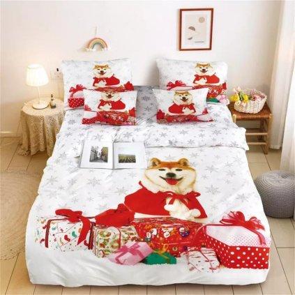 3-dílné povlečení vánoční pes s dárky 3 D bílá 140x200 na jednu postel