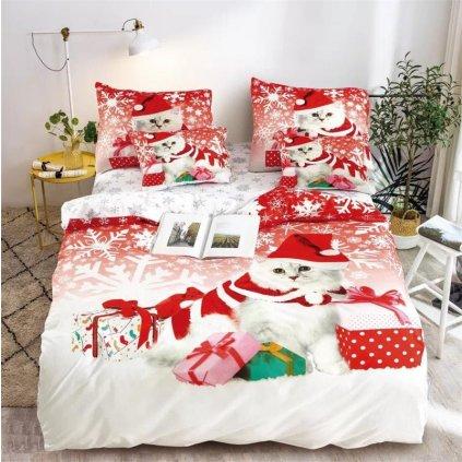 3-dílné povlečení vánoční kočka s dárky 3 D bílá 140x200 na jednu postel