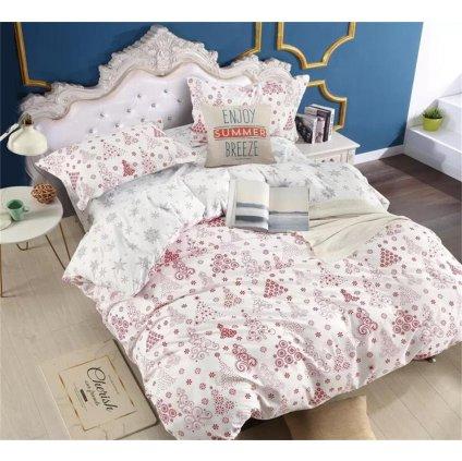 3-dílné povlečení vánoční motivy bílá 140x200 na jednu postel