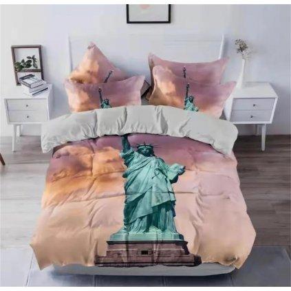 3-dílné povlečení Socha svobody 3 D 140x200 na jednu postel