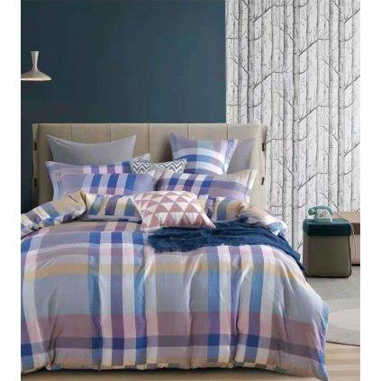2-dílné povlečení kárované modrá šedá 140x200 na jednu postel