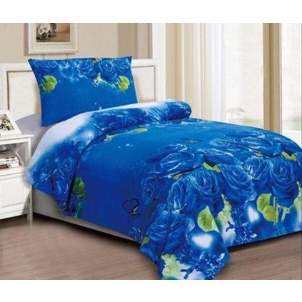 Dvoudílné povlečení růže 3 D modrá 140x200 na jednu postel