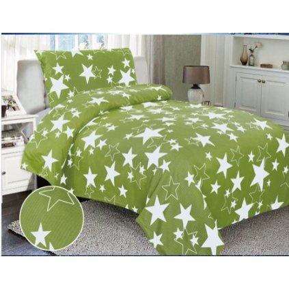 Dvoudílné krepové povlečení hvězdy zelená bílá