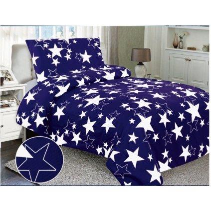 Dvoudílné krepové povlečení hvězdy modrá bílá