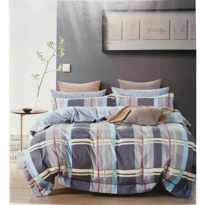 Dvoudílné povlečení bavlna kárované šedá modrá 140x200