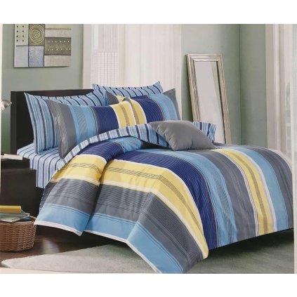 Dvoudílné povlečení bavlna pruhy šedá modrá žlutá 140x200