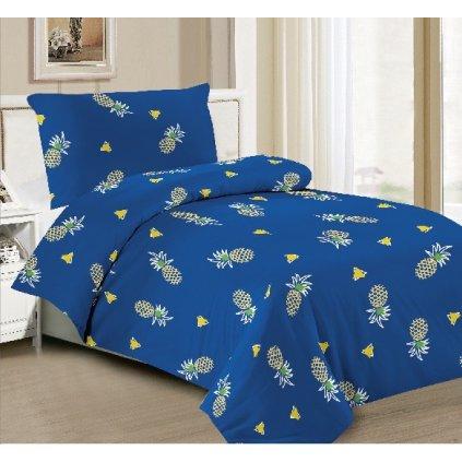 Dvoudílné povlečení bavlna mikrovlákno ananas modrá 140x200