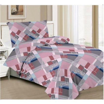 Dvoudílní povlečení bavlna + mikrovlákno geom. vzor růžová šedá 140x200