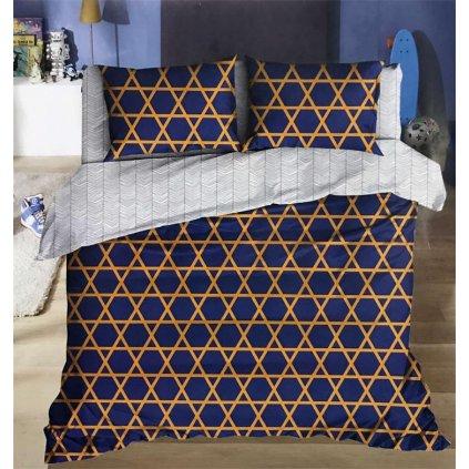 Dvoudílné povlečení bavlna mikrovlákno geom.vzory modrá žlutá 140x200