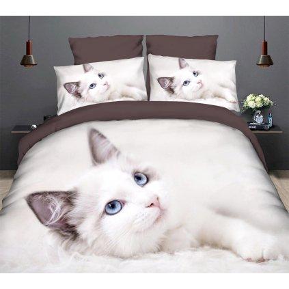Sedmidílné povlečení kočka 3 D bílá 140x200 na dvě postele