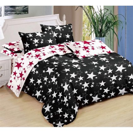 Sedmidílné povlečení hvězdy černá bílá bavlna/mikrovlákno 140x200 na dvě postele
