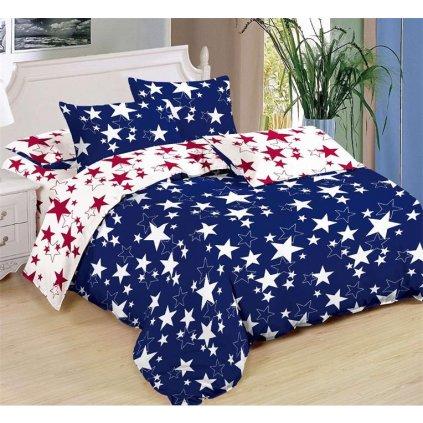 Sedmidílné povlečení hvězdy bavlna/mikrovlákno modrá bílá 140x200 na dvě postele