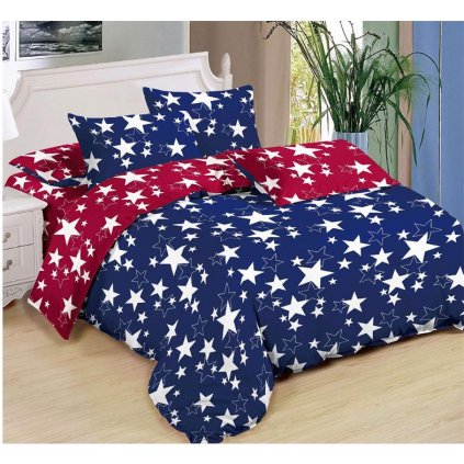 Sedmidílné povlečení hvězdy bavlna/mikrovlákno modrá červená 140x200 na dvě postele