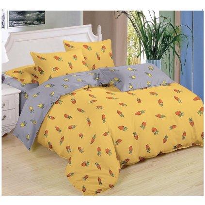 Sedmidílné povlečení mrkev bavlna/mikrovlákno žlutá 140x200 na dvě postele