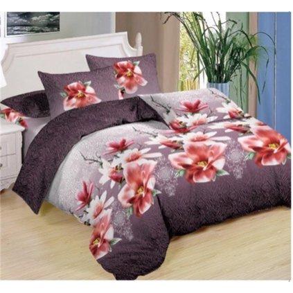 Sedmidílné povlečení květy bavlna/mikrovlákno 140x200 růžová fialová na dvě postele