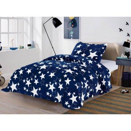 Dvoudílné povlečení mikroplyš hvězdy modrá bílá 140x200