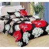 Sedmidílné povlečení růže bavlna/mikrovlákno černá červená šedá 140x200 na dvě postele