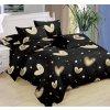 Sedmidílné povlečení srdce hvězdy bavlna mikrovlákno černá 140x200 na dvě postele