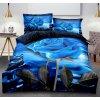 Dvoudílné povlečení květ růže bavlna mikrovlákno modrá 140x200 na jednu postel