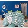 Třídílné povlečení lilie bavlna/mikrovlákno zelená bílá 140x200 na jednu postel