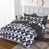 7-dílné povlečení koně modrá bílá 140x200 na dvě postele