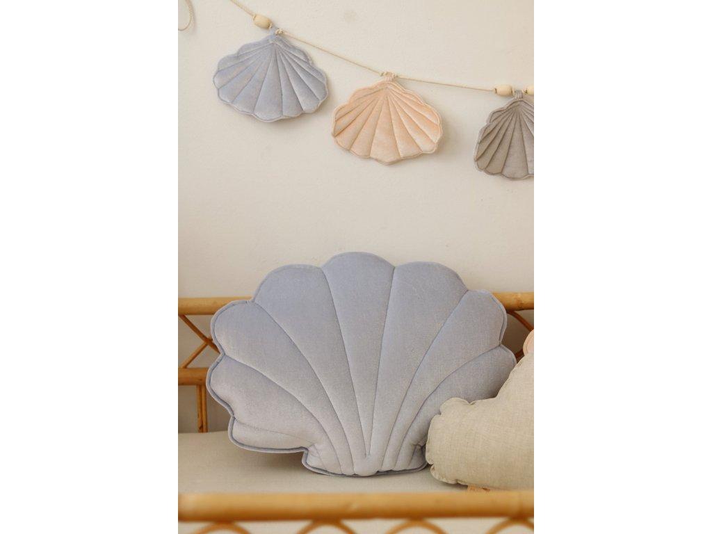 Velvet polštářek mušle - modrá perla