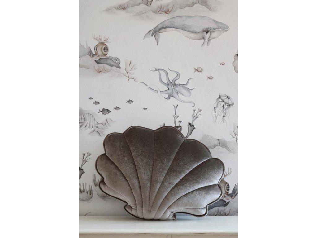 Velvet polštářek mušle - šedá perla