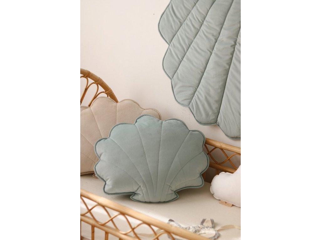 Velvet polštářek mušle velká - mentolová