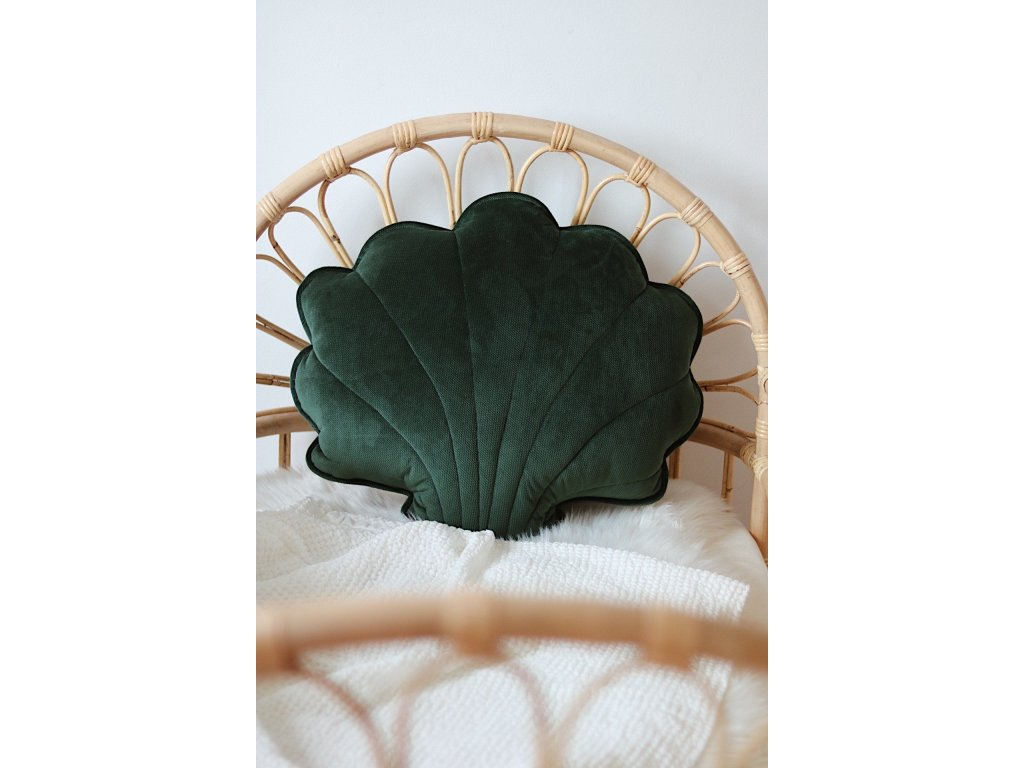Velvet polštářek mušle velká - smaragdová