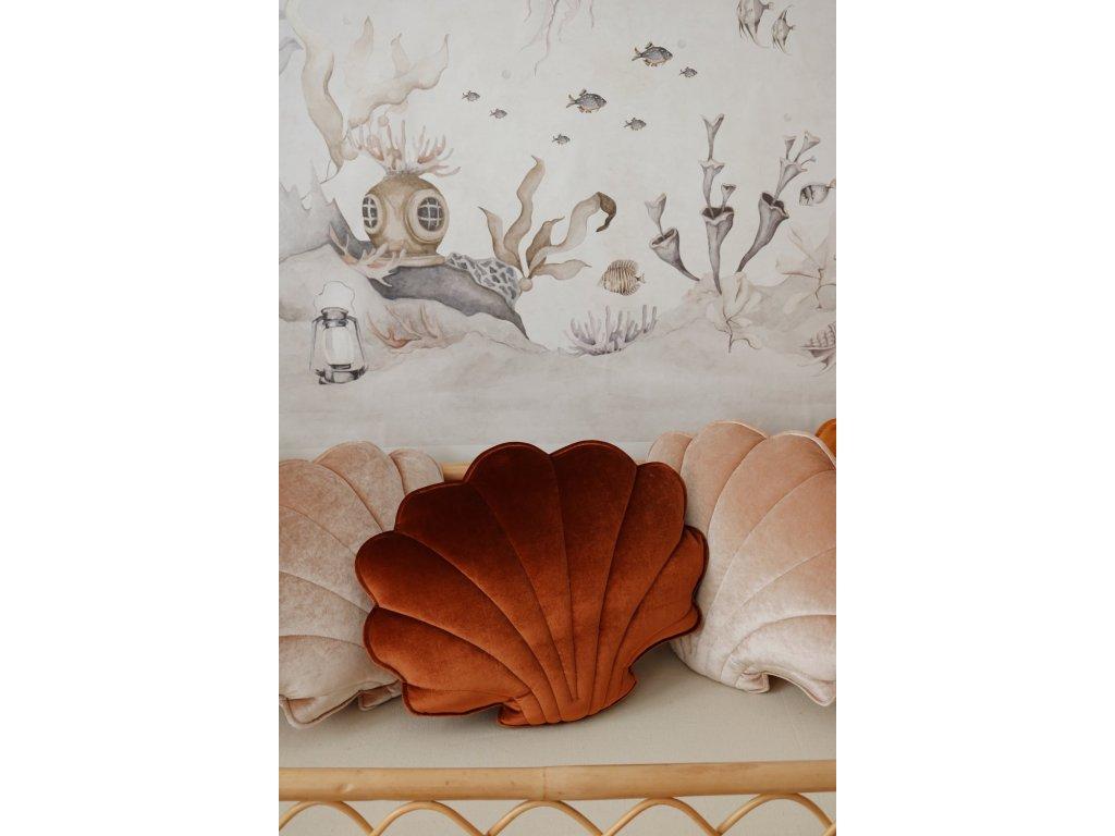 Velvet polštářek mušle - měděná perla
