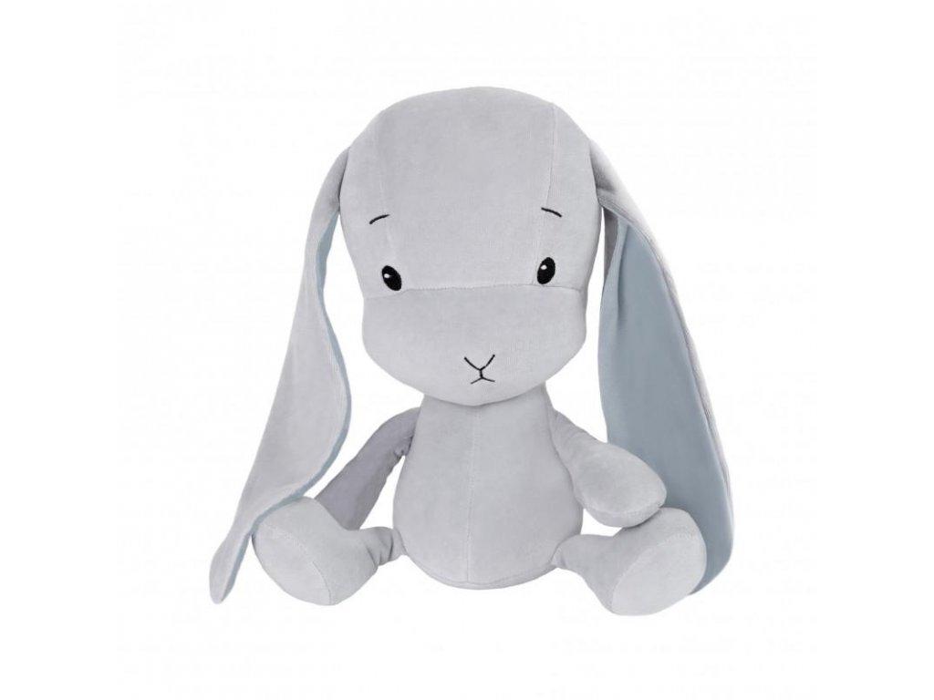 Effík Bunny šedý s modrými oušky - L