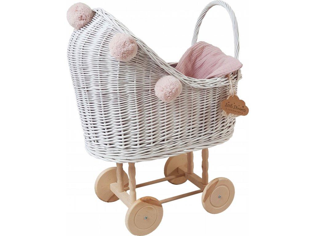 Proutěný kočárek pro panenky bílý s bambulemi