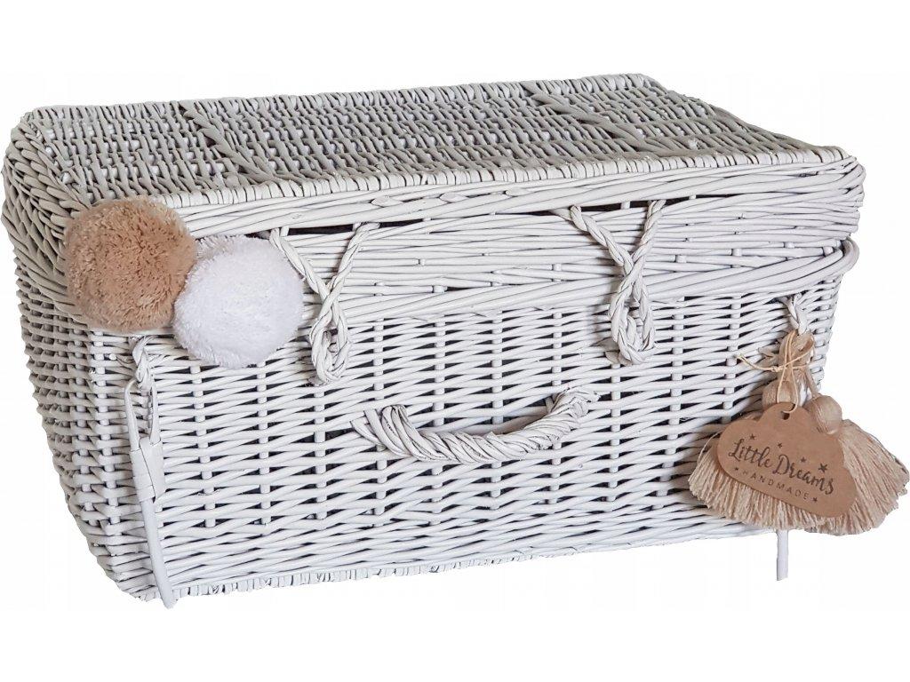 Proutěný kufřík bílý