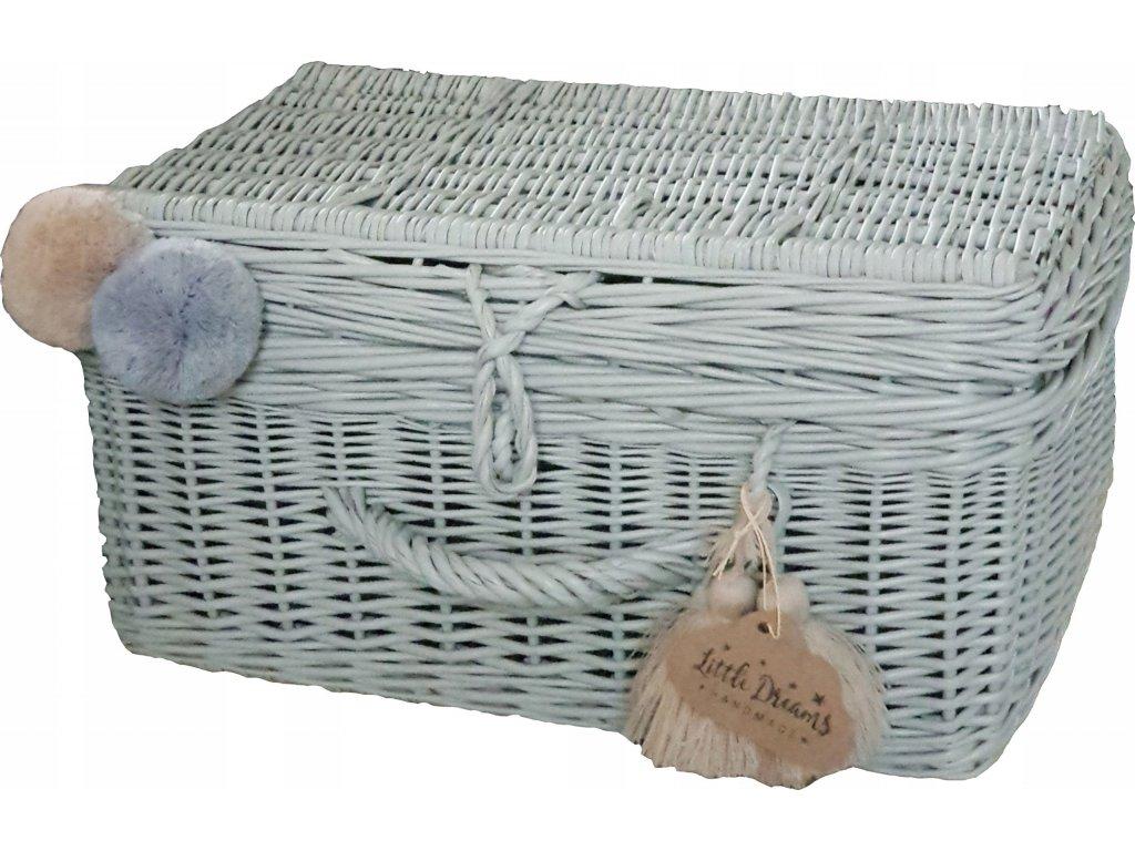 Proutěný kufřík šedý
