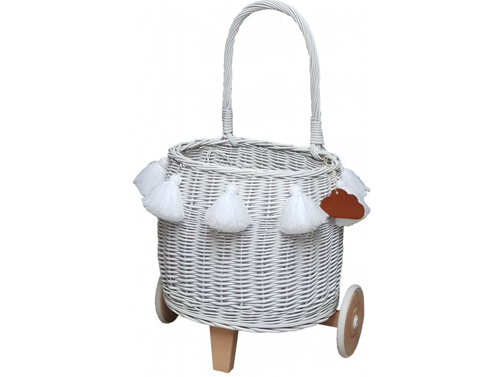 Proutěný košík na kolečkách bílý