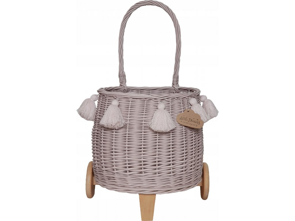 Proutěný košík na kolečkách růžový