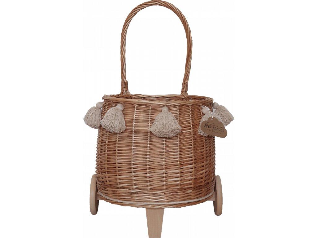 Proutěný košík na kolečkách přírodní