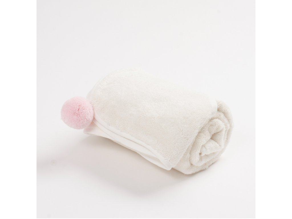 Bambusový ručník s bambulkou růžová