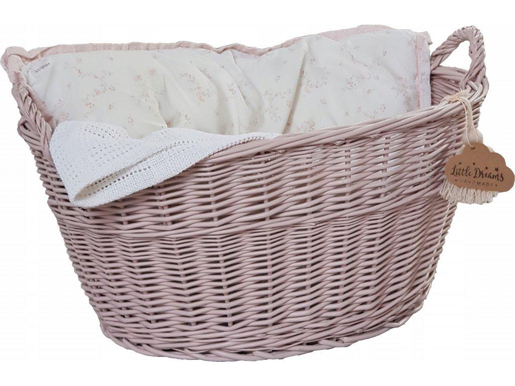 Proutěný košík oválný růžový