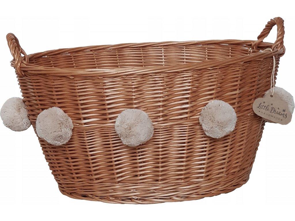 Proutěný košík oválný přírodní s bambulemi