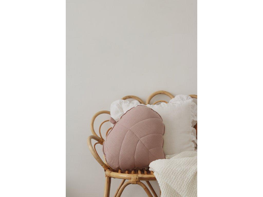 Lněný polštářek lístek - pudrově růžová