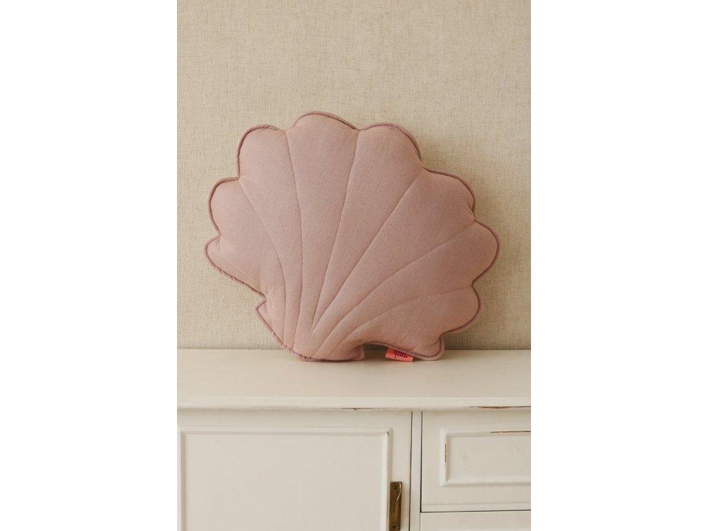 Lněný polštářek mušle - pudrově růžová