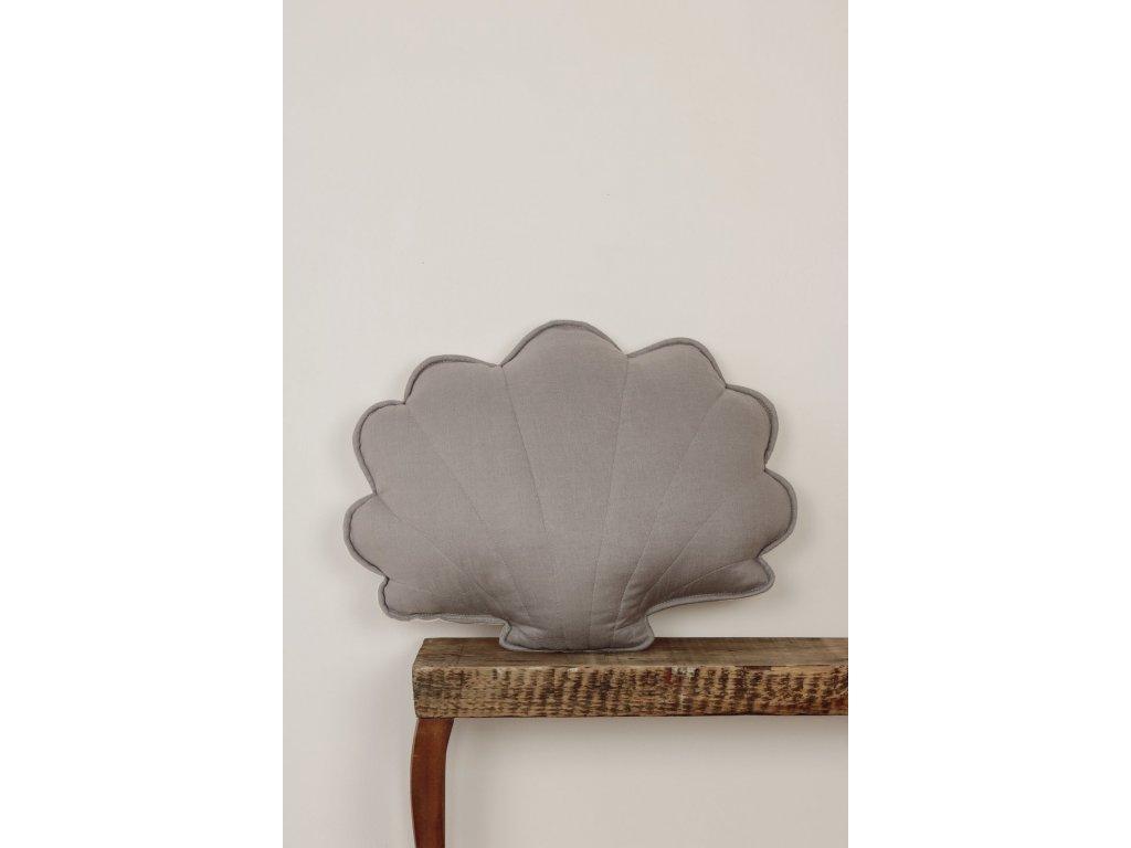 Lněný polštářek mušle - šedý